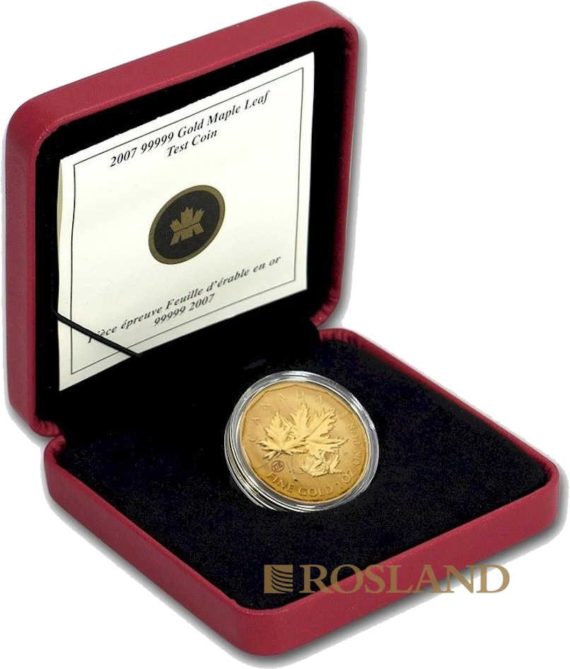 1 Unze Goldmünze Kanada Maple Leaf 2007 Testprägung (.99999 Gold, Box, Zertifikat)