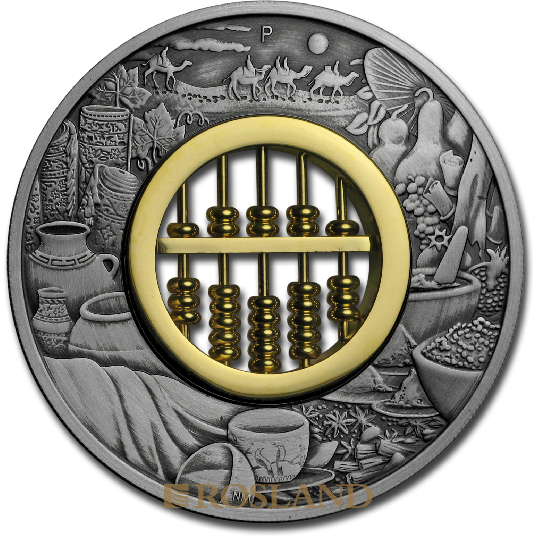 2 Unzen Silbermünze Perth Mint Tuvalu Abakus Antik 2019 PP (Box, Zertifikat)