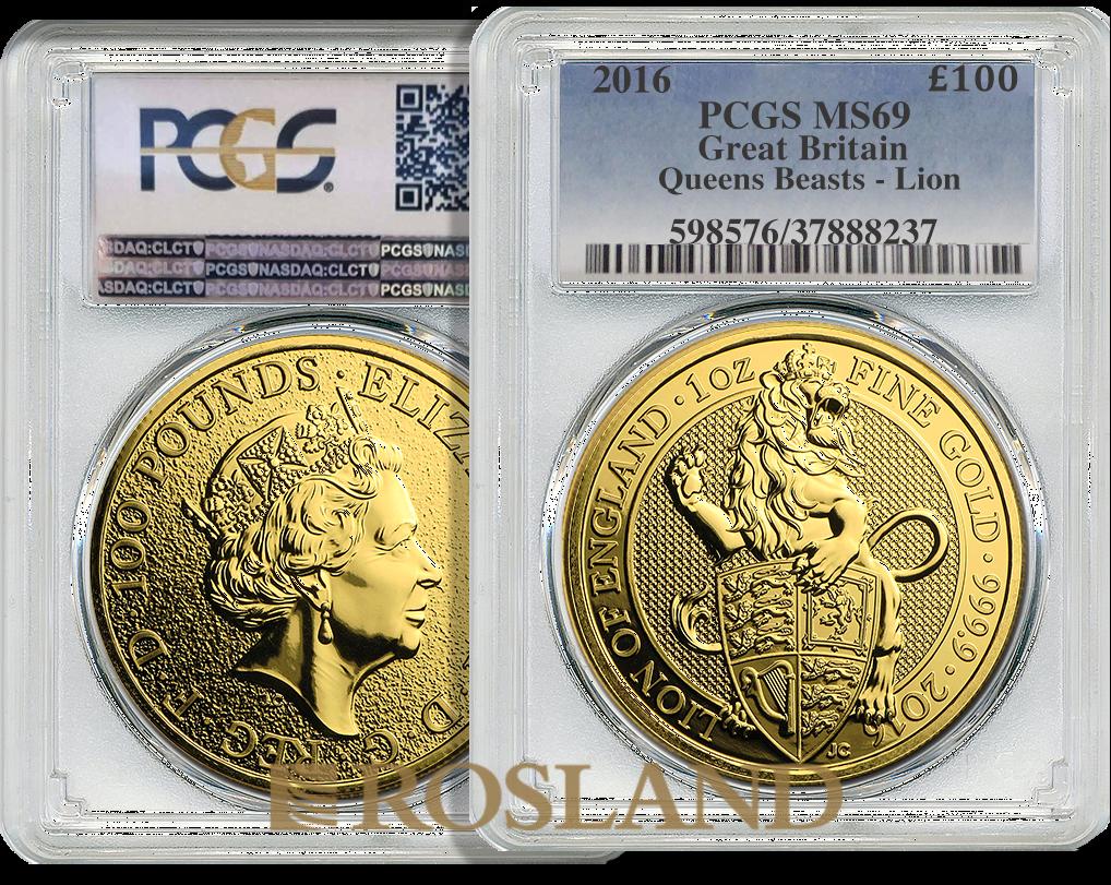 1 Unze Goldmünze Queens Beasts Lion 2016 PCGS MS-69