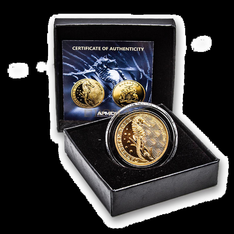 1 Unze Goldmünze Barbados Seepferd 2020 (Box, Zertifikat)