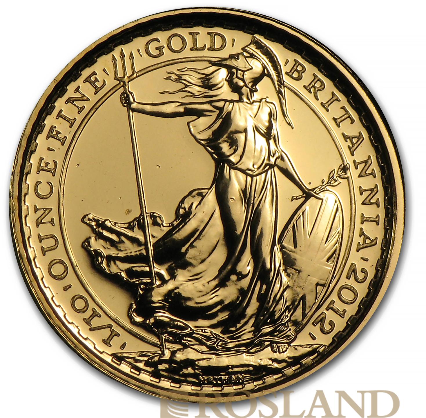 1/10 Unze Goldmünze Britannia 2012 - 25 Jahre Jubiläum Edition