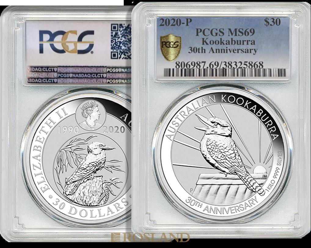 1 Kilogramm Silbermünze Kookaburra 2020 - 30 Jahre Jubiläum PCGS MS-69 (Shield)
