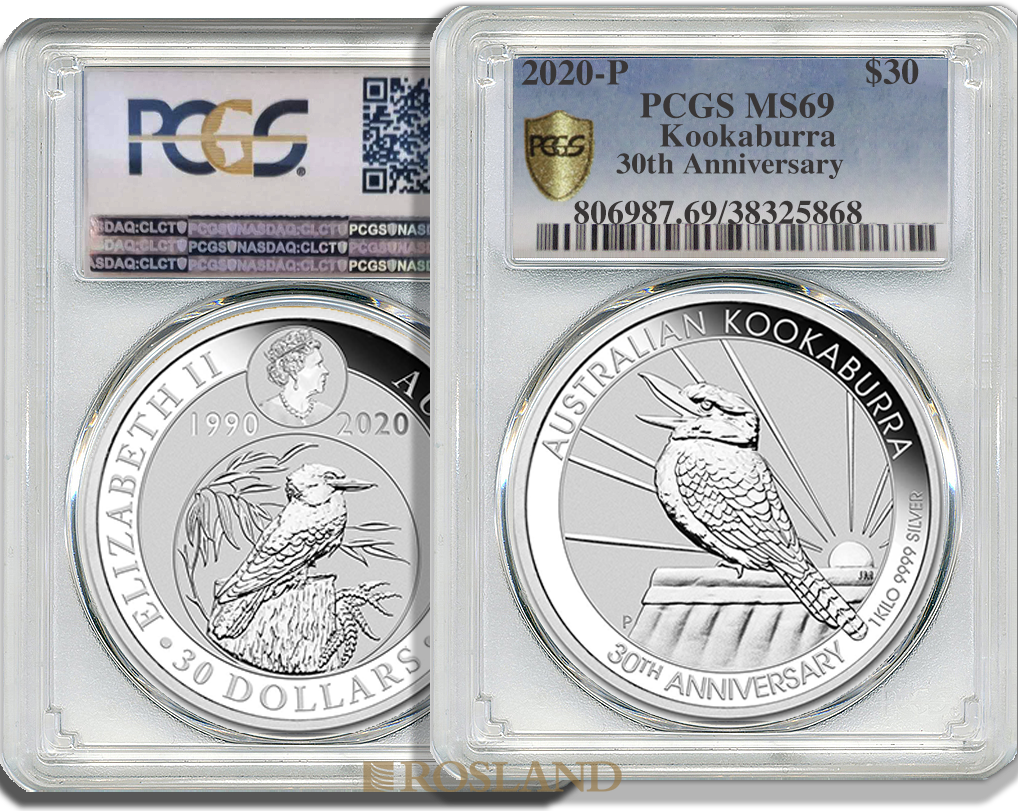 1 Kilogramm Silbermünze Australien Kookaburra 30 Jahre Jubiläum 2020 PCGS MS-69 (Shield)
