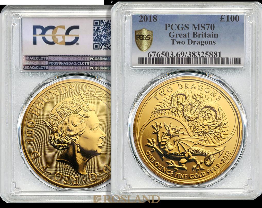 1 Unze Goldmünze Great Britain Two Dragons 2018 PCGS MS-69 (Shield)