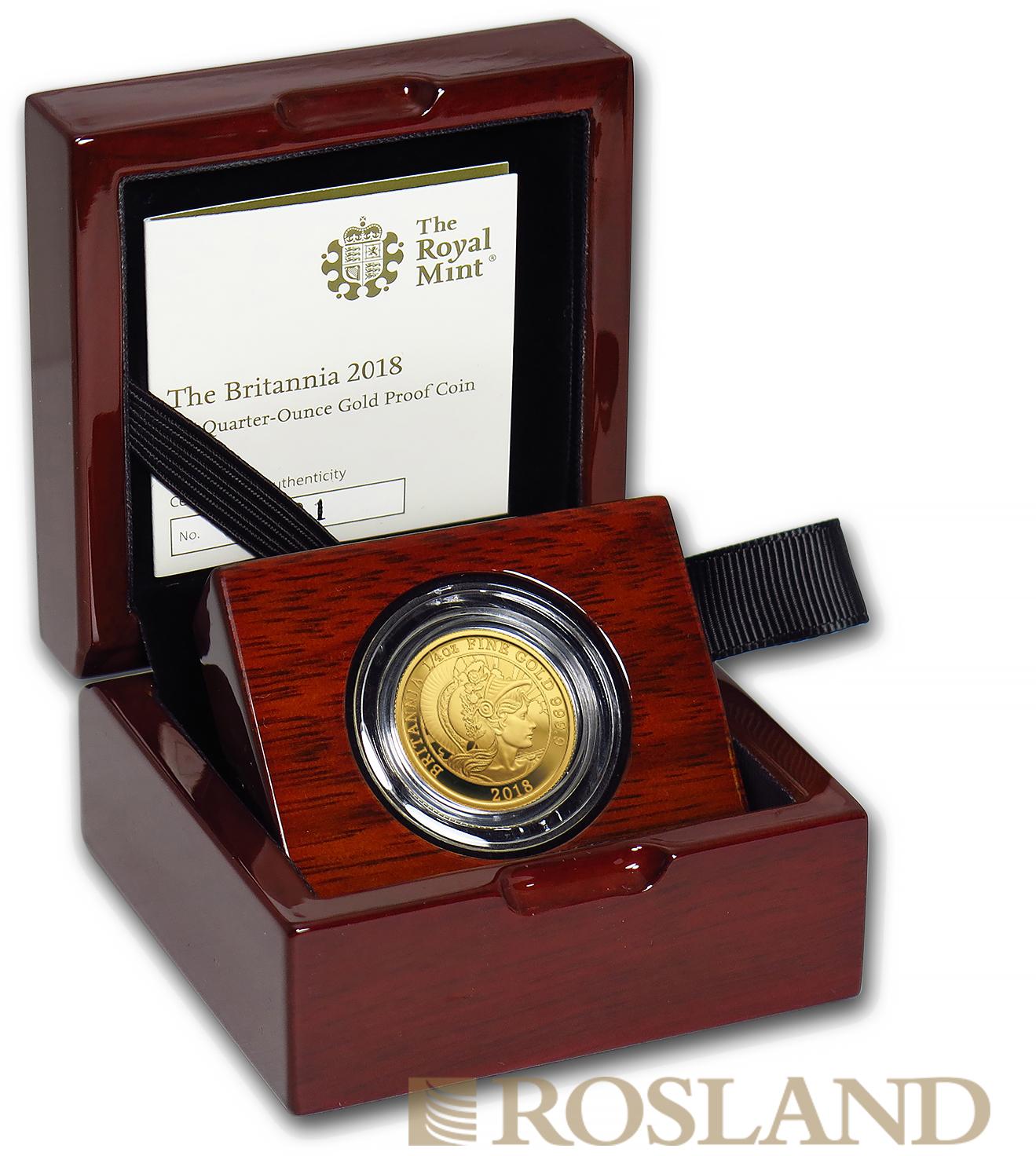 1/4 Unze Goldmünze Britannia 2018 PP (Box, Zertifikat)