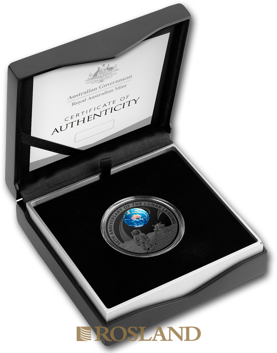 1 Unze Silbermünze RAM Apollo 11 Mondlandung 2019 PP (Koloriert, Box, Zertifikat)