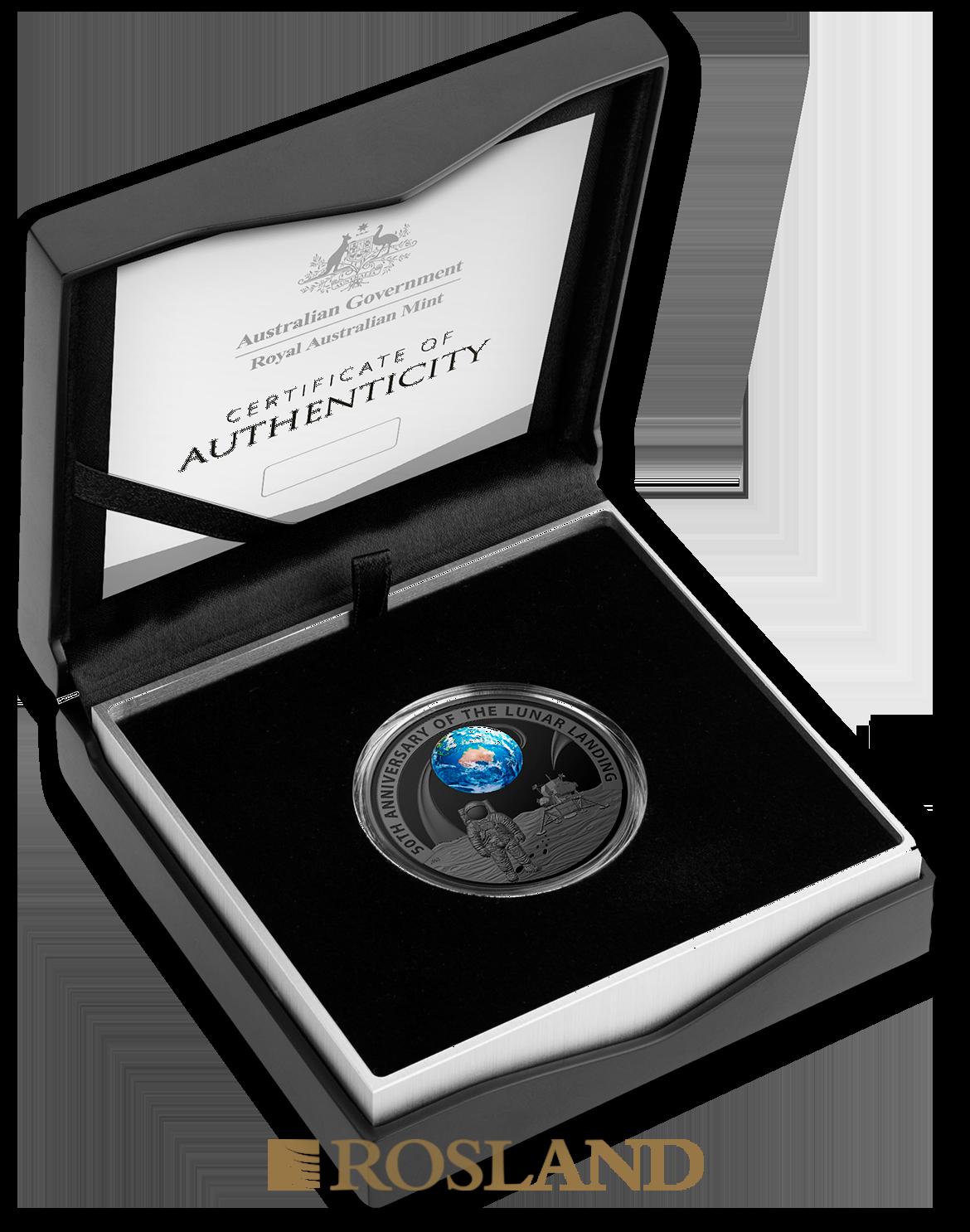 1 Unze Silbermünze RAM Apollo 11 Mondlandung 2019 PP (Box, Zertifikat, Koloriert)