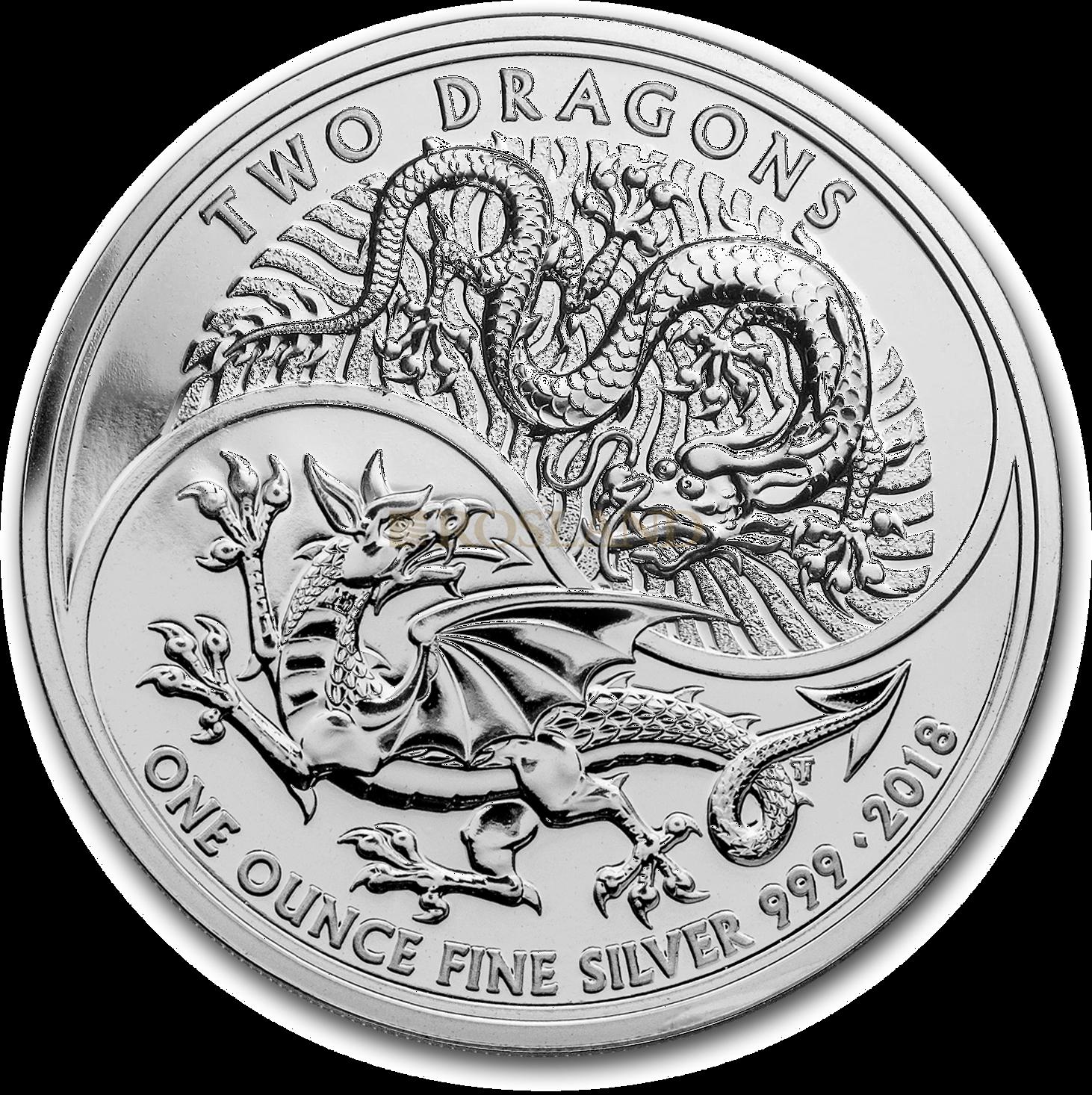1 Unze Silbermünze Great Britain Two Dragons 2018