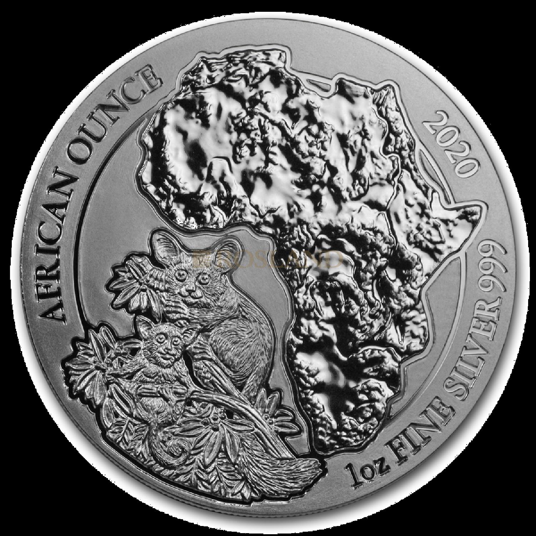 1 Unze Silbermünze Ruanda Wildlife Galagos 2020
