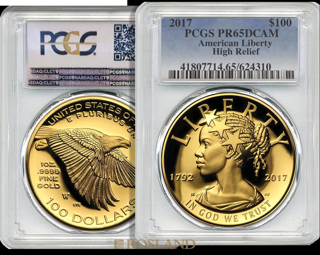 1 Unze Goldmünze American Liberty 2017 PP PCGS PR-65 (DCAM, HR, Box, Zertifikat)