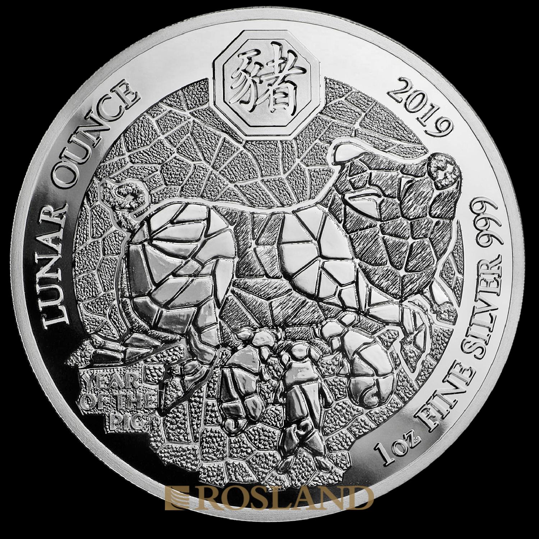 1 Unze Silbermünze Ruanda Lunar Schwein 2019 PP