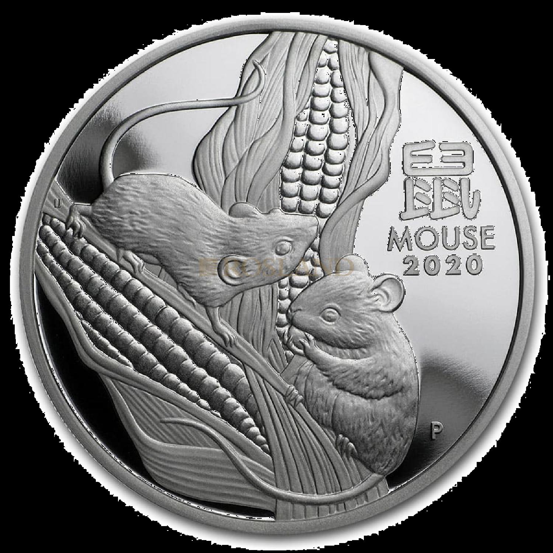 1 Unze Silbermünze Lunar 3 Maus 2020 PP (Box, Zertifikat)