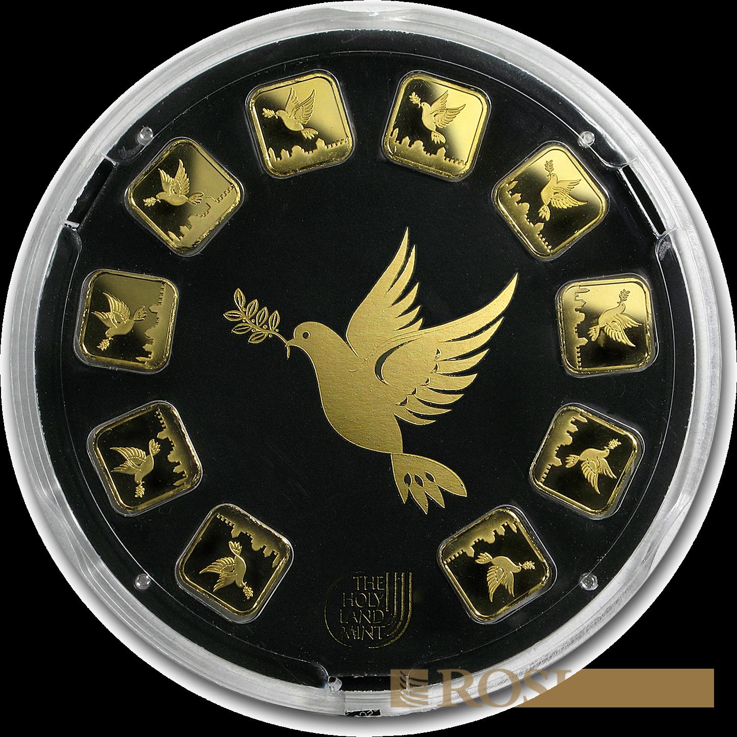 10x1 Gramm Goldbarren Heraeus Argor HLM Dove of Peace (.9999, Goldring)