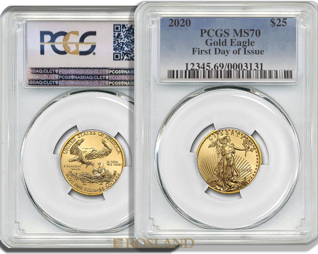 1/2 Unze Goldmünze American Eagle 2020 PCGS MS-70 First Day