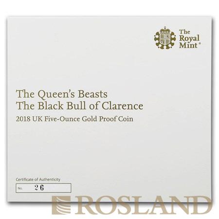 5 Unzen Goldmünze Queens Beasts Black Bull 2018 PP (Box, Zertifikat)