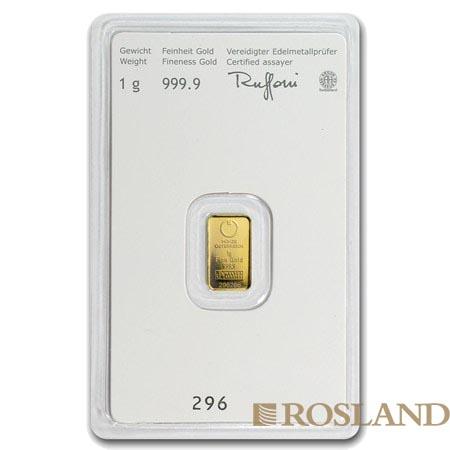 1 Gramm Goldbarren Münze Österreich Kinebar®
