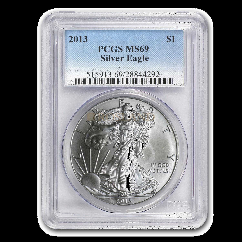 1 Unze Silbermünze American Eagle 2013 (S) PCGS MS-69
