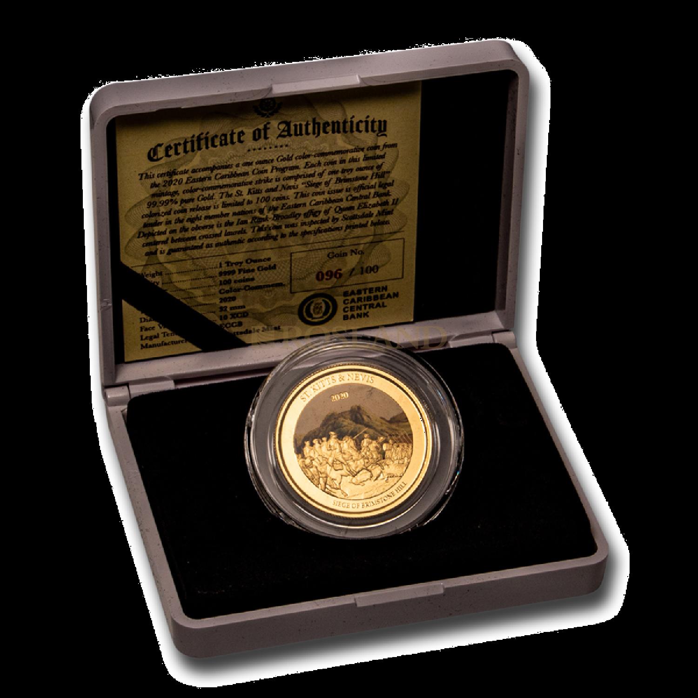 1 Unze Goldmünze EC8 ST. Kitts & Nevis Brimstone Hill 2020 PP (Koloriert, Box, Zertifikat)
