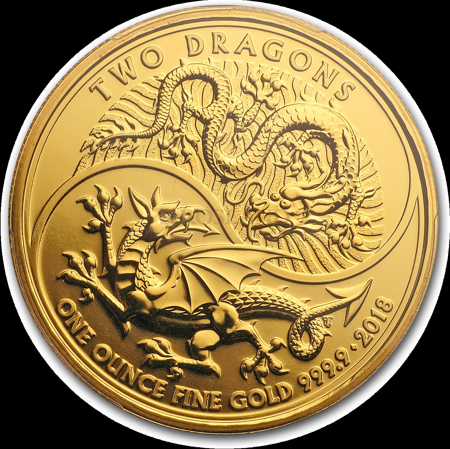 1 Unze Goldmünze Great Britain Two Dragons 2018