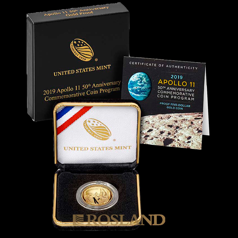 0,24 Unzen Goldmünze Apollo 10 - 50 Jahre Mondlandung 2019 PP (Box, Zertifikat)