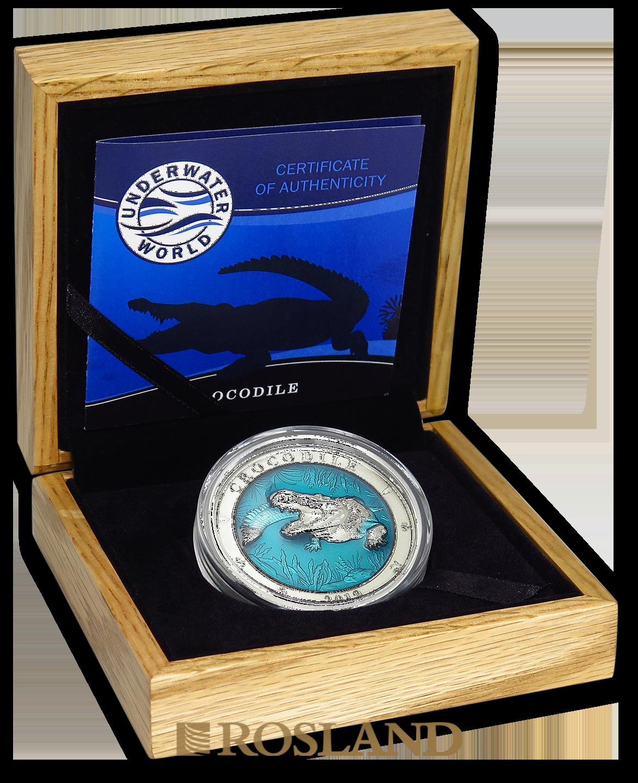 3 Unzen Silbermünze Antique Underwater World Krokodil 2019 (Box, Zertifikat)