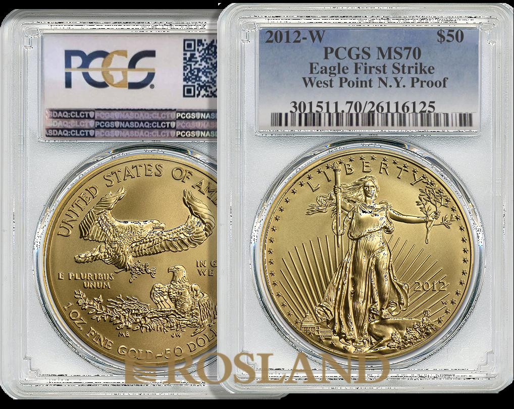1 Unze Goldmünze American Eagle 2012 PP (W) PCGS MS-70 (FS)