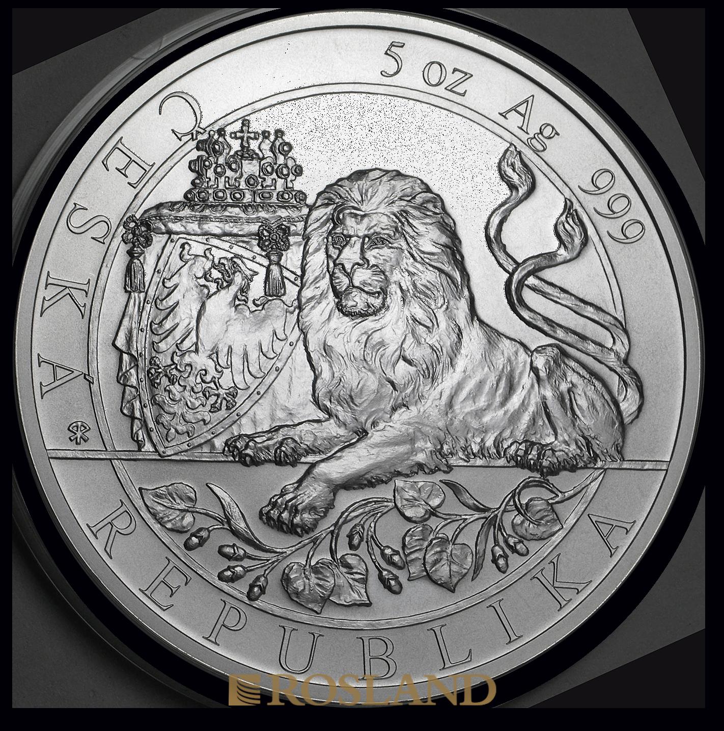 5 Unzen Silbermünze Tschechischer Löwe 2019
