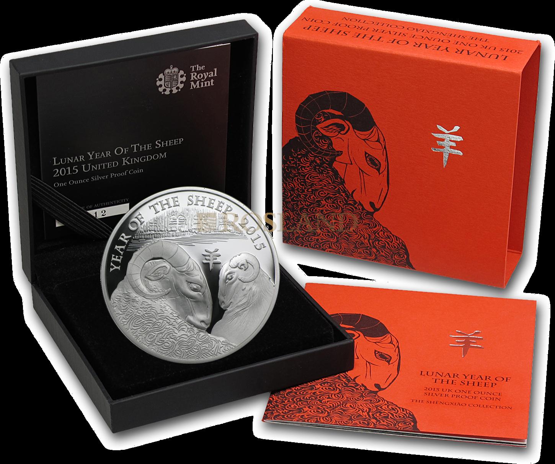 1 Unze Silbermünze Great Britain Jahr des Schafes 2015 PP (Box, Zertifikat)