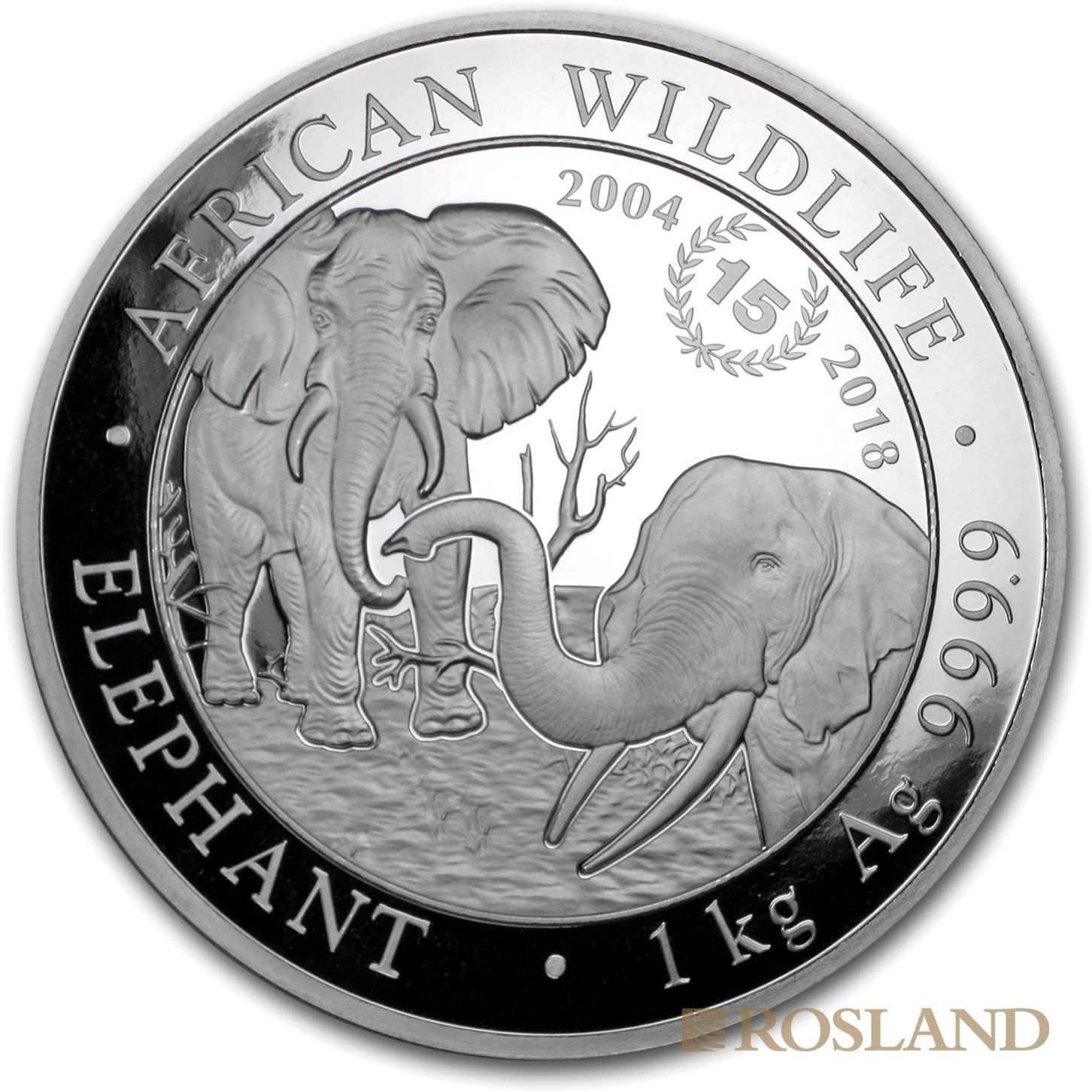 1 Kilogramm Silbermünze Somalia Elefant 2018 15 Jahre Jubiläum