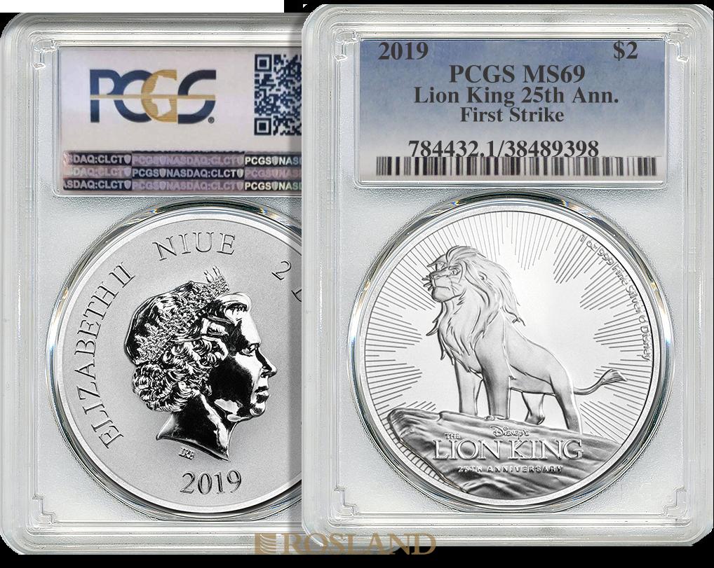 1 Unze Silbermünze Disney® 25 Jahre König der Löwen 2019 PCGS MS-69 (FS, Shield)