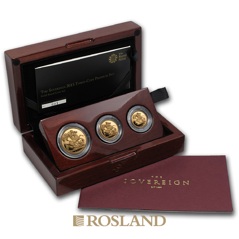 .823 Unzen - 3 Goldmünzen Set Großbritannien Sovereign 2015 PP (Box, Zertifikat)