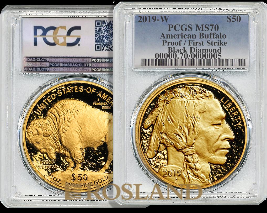 1 Unze Goldmünze American Buffalo 2019 Black Diamond PP PCGS PR-70 (FS)