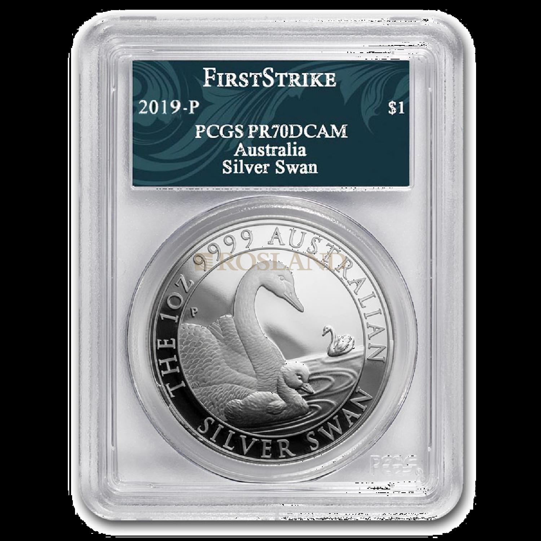 1 Unze Silbermünze Australien Schwan 2019 PP PCGS PR-70 (DCAM, FS)