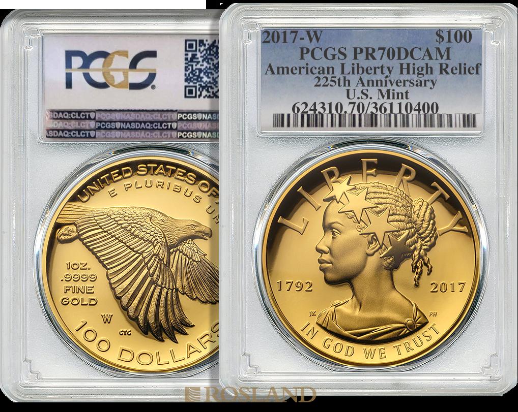 1 Unze Goldmünze American Liberty 2017 PP PCGS PR-70 (HR, DCAM)