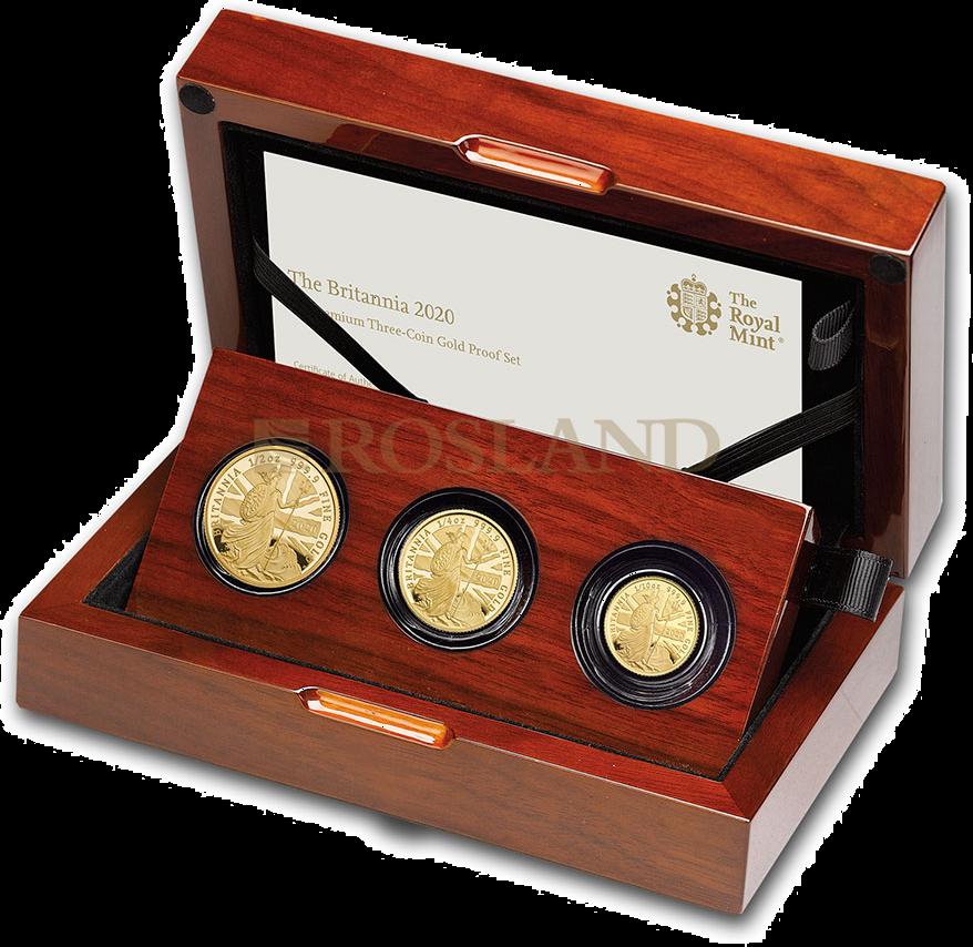 0,85 Unzen - 3 Goldmünzen Britannia Set 2020 PP (Box, Zertifikat)