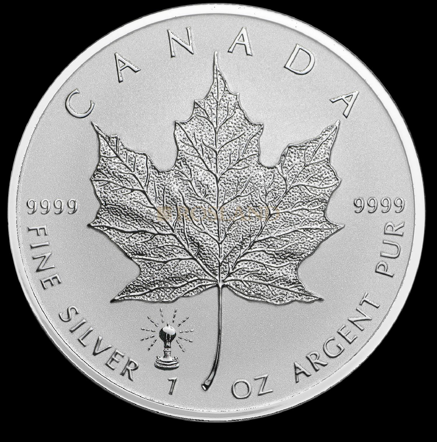1 Unze Silbermünze Kanada Maple Leaf Edison Glühlampe 2018