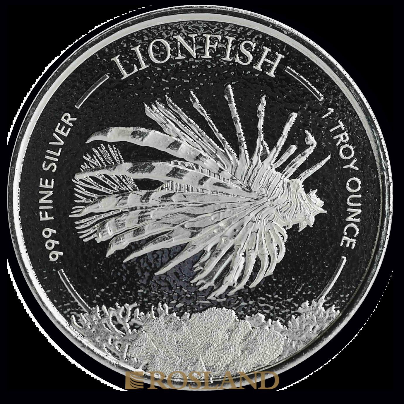 1 Unze Silbermünze Barbados Feuerfisch Lionfish 2019