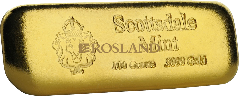100 Gramm Goldbarren Scottsdale Mint Löwe
