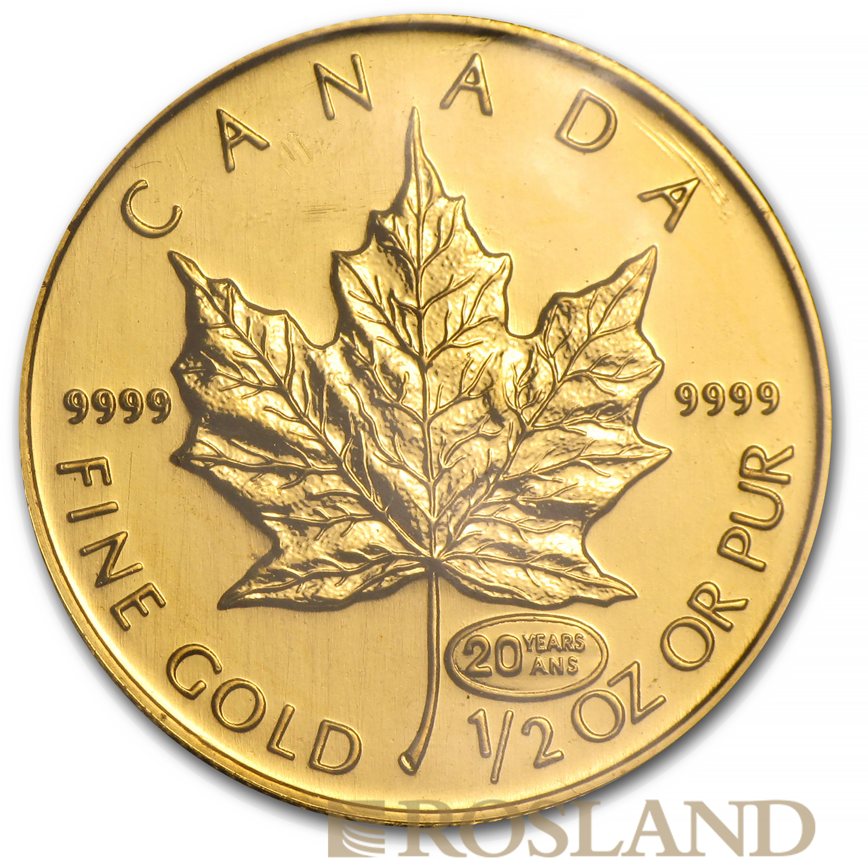 1/2 Unze Goldmünze Kanada Maple Leaf 1999 (20 Jahre Privy)