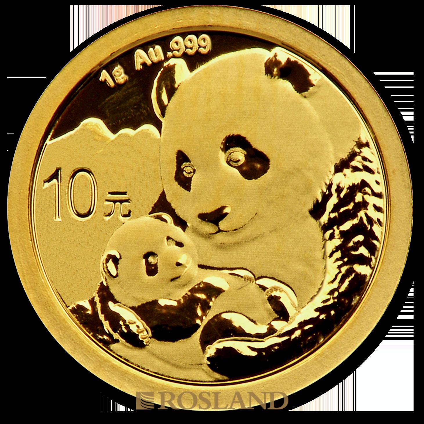 1 Gramm Goldmünze China Panda 2019