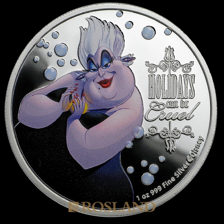 1 Unze Silbermünze Disney© Hexe Ursula 2019 PP (Koloriert, Box, Zertifikat)
