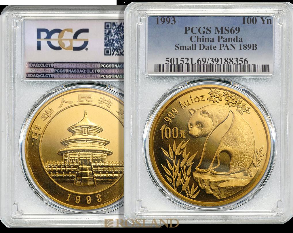 1 Unze Goldmünze China Panda 1993 PCGS MS-69