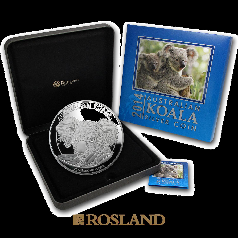 1 Kilogramm Silbermünze Koala 2014 PP (Box, Zertifikat)