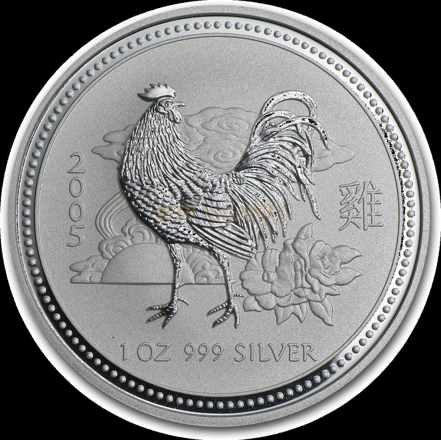 1 Unze Silbermünze Australien Lunar 1 Hahn 2005