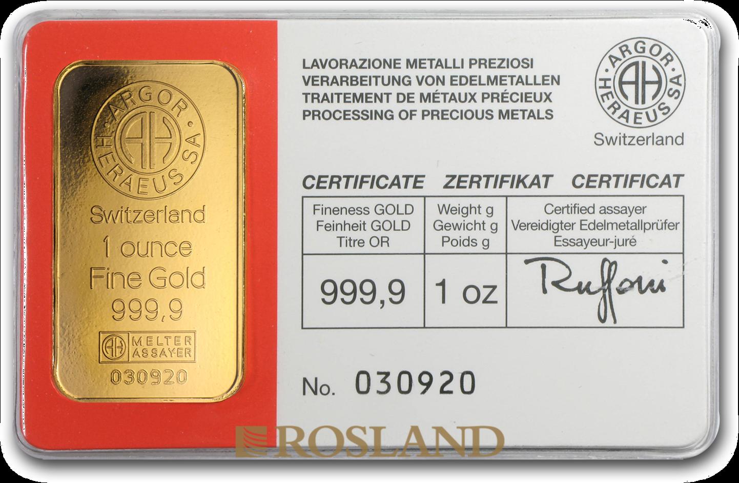 1 Unzen Goldbarren Heraeus Argor Vintage (.9999)