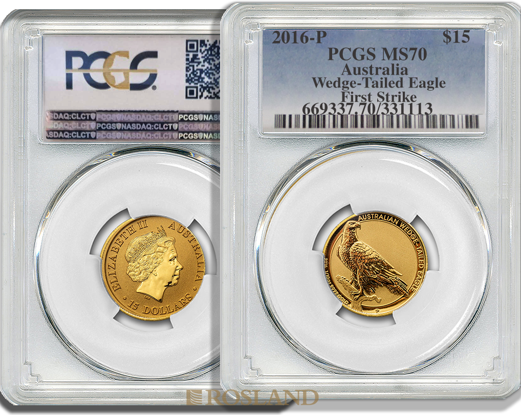 1/10 Unze Goldmünze Wedge Tailed Eagle 2016 PCGS MS-70 First Strike