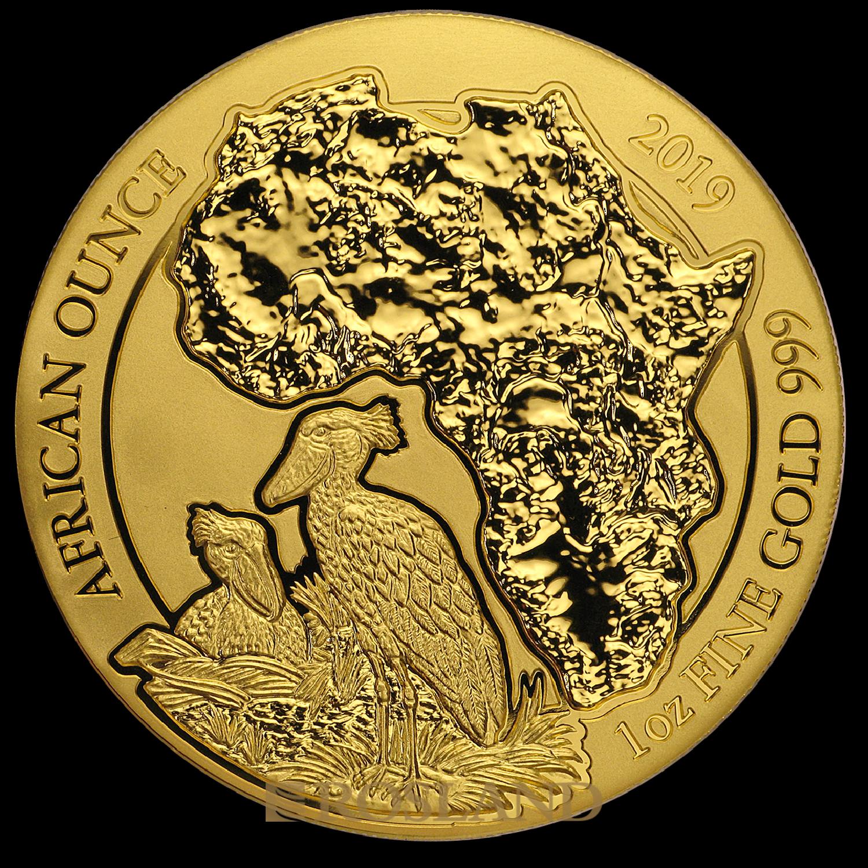 1 Unze Goldmünze Ruanda Wildlife Schuhschnabel 2019 (Box, Zertifikat)