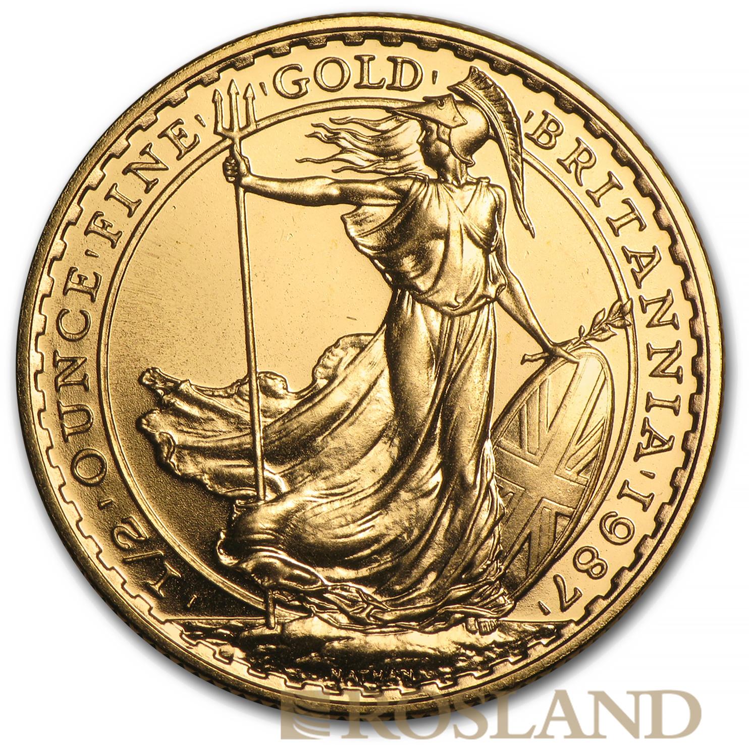 1/2 Unze Goldmünze Britannia 1987 PP