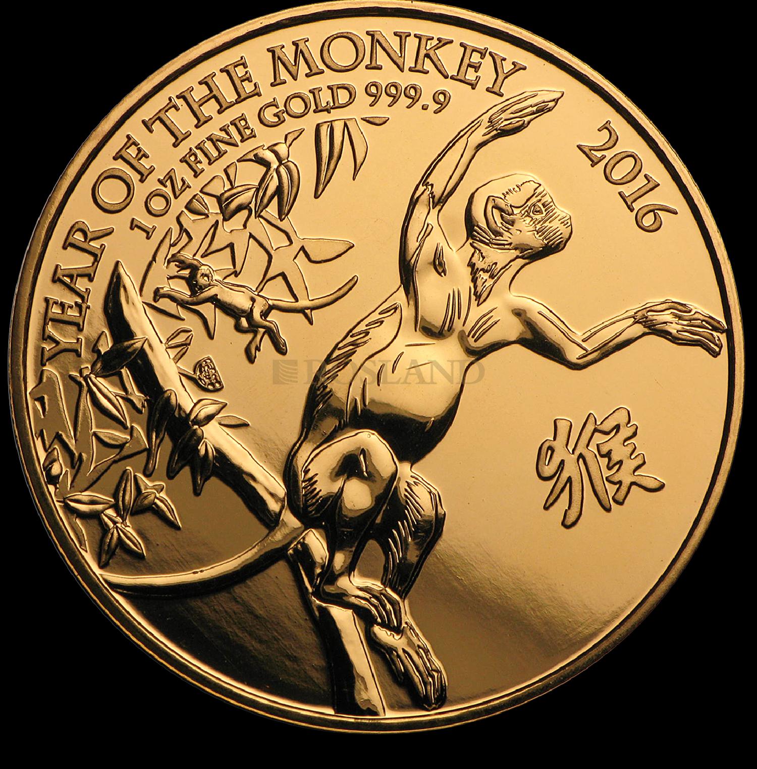 1 Unze Goldmünze Großbritannien Lunar Affe 2016