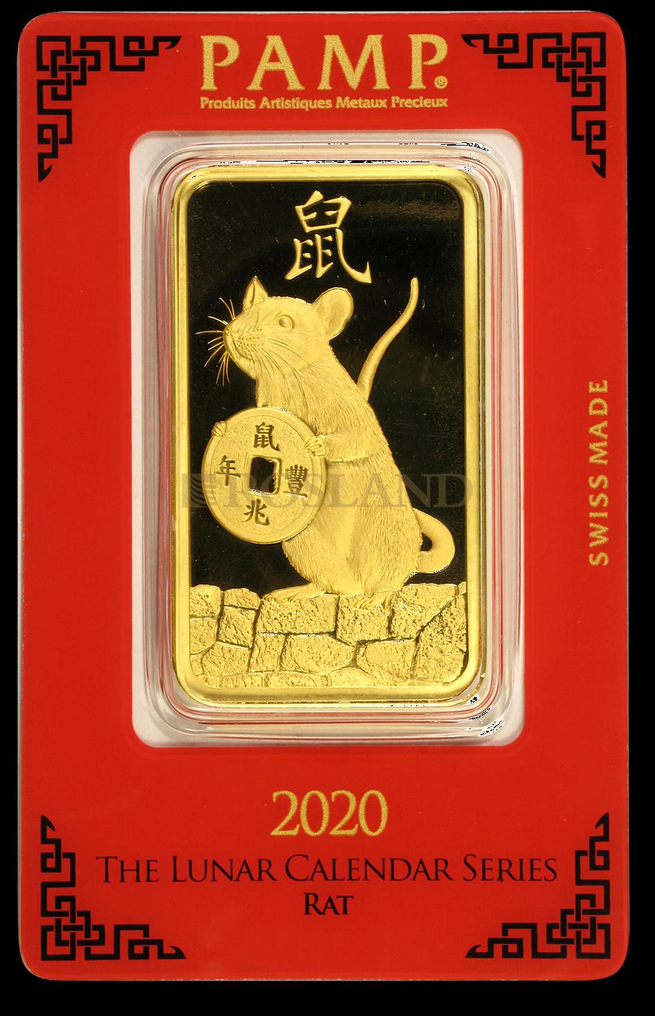 100 Gramm Goldbarren PAMP Lunar Jahr der Ratte 2020